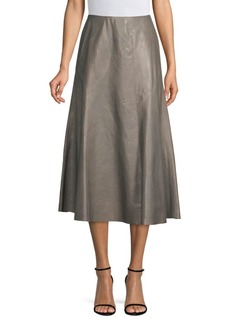 Lafayette 148 Roma Leather A-Line Skirt