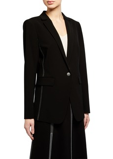 Lafayette 148 Roman Contrast Topstitch One-Button Jacket