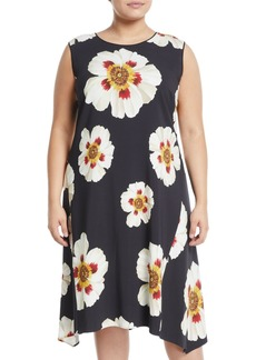 Lafayette 148 Romona Sleeveless Floral Print A-Line Dress