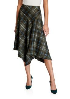 Lafayette 148 Rosabell Tartan Plaid Asymmetric Skirt