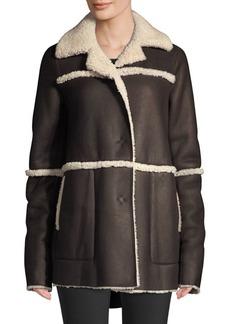 Lafayette 148 Rosalind Shearling-Trim Coat