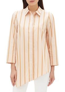 Lafayette 148 Rosamund Skylark Striped Cotton Blouse w/ Asymmetric Hem