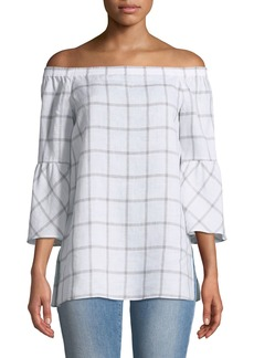 Lafayette 148 Rosario Off-The-Shoulder 3/4 Bell-Sleeve Blouse