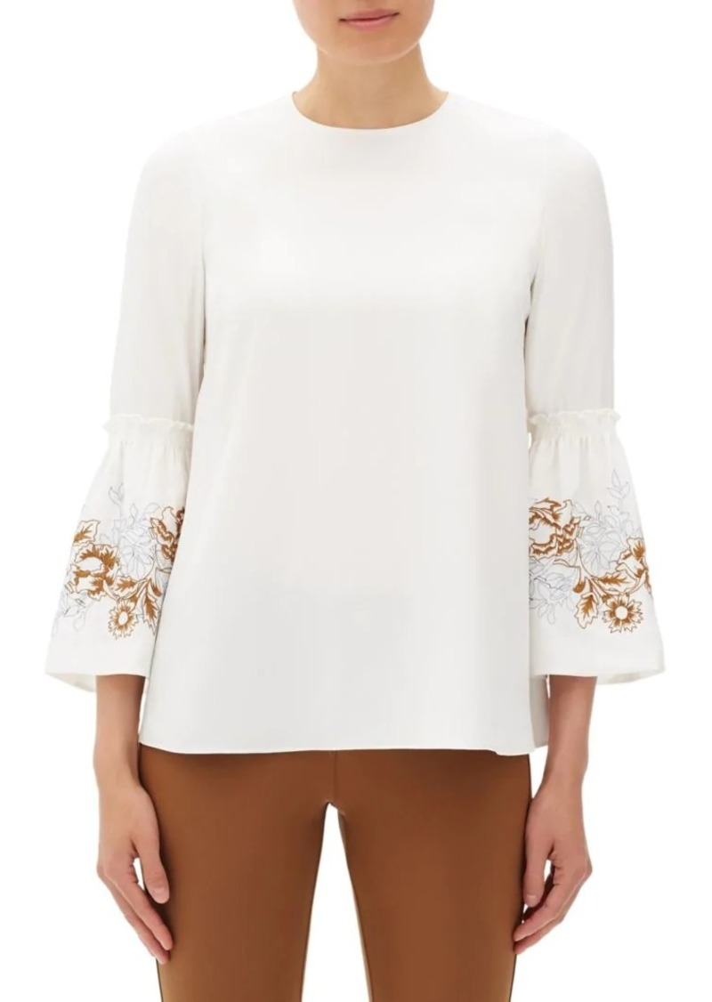 Lafayette 148 Roslin Floral Silk Bell-Sleeve Blouse