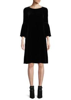 Lafayette 148 Roslin Round-Neck Bell-Sleeve Velvet Shift Dress