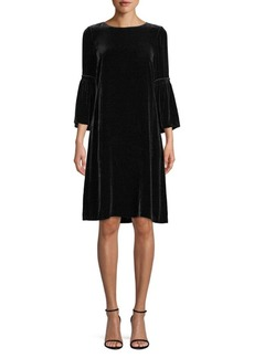 Lafayette 148 Roslin Velvet Bell Sleeve Shift Dress