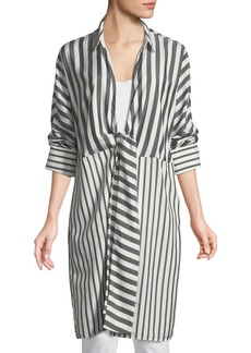 Lafayette 148 Rowlan Showcase Stripe Silk Duster Jacket
