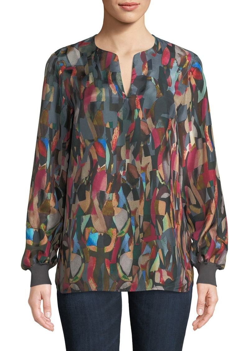 Lafayette 148 Roxy Aesthetic Textured Silk Blouse