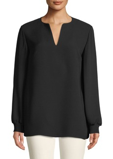 Lafayette 148 Roxy Double Georgette Blouse with Knit Cuffs