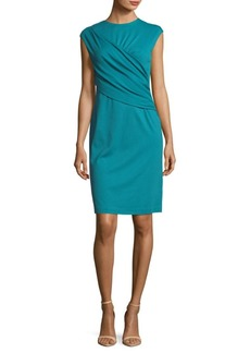 Lafayette 148 Ruched Wrap Front Knee-Length Dress