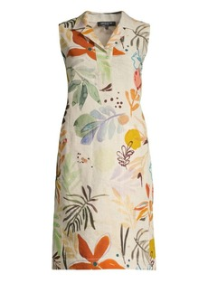 Lafayette 148 Rudy Fiore Print Linen Sleeveless Dress