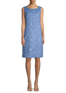 Lafayette 148 Printed Sleeveless Linen Sheath Dress