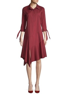 Lafayette 148 Ruffle-Trimmed Cotton Blend A-Line Dress