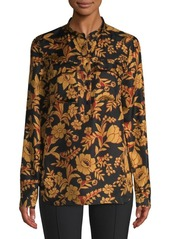 Lafayette 148 Russell Floral Silk Blouse