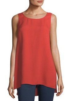 Lafayette 148 Ruthie Sleeveless High-Low Hem Silk Blouse