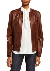 Lafayette 148 Rylan Zip Front Supple Napa Leather Jacket