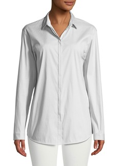 Lafayette 148 Sabira Streamline Stripe Button-Front Blouse