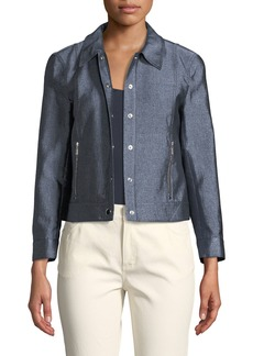 Lafayette 148 Sage Chambray Snap-Front Jacket