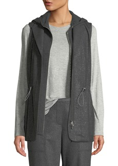 Lafayette 148 Sam Zip-Front Stardust Wool Suiting Combo Vest w/ Nylon Back