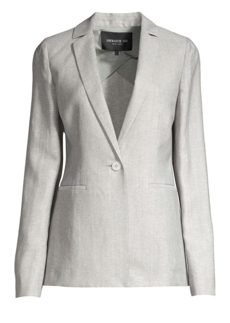 Lafayette 148 Samson Single-Breasted Wool & Linen Blazer