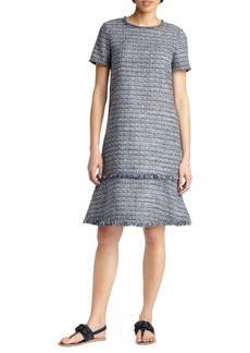 Lafayette 148 Saria Tweed Fringe Dress