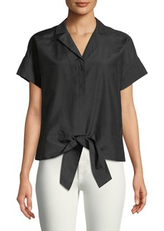 Sawyer Tie-Hem Button-Front Blouse