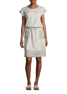 Lafayette 148 Scoop-Neck Drawstring-Waist Knit Dress  Pebble Melange