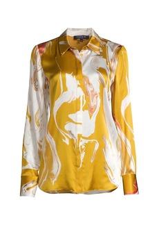 Lafayette 148 Scottie Abstract Print Silk Blouse