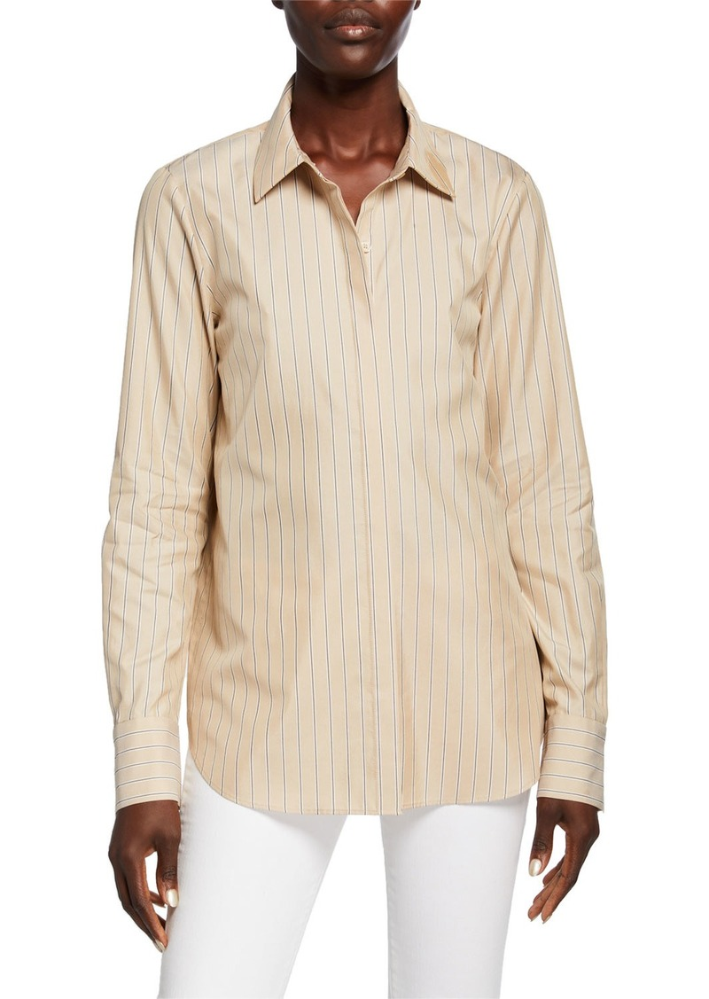 Lafayette 148 Scottie Genteel Stripes Button-Down Cotton/Silk Blouse