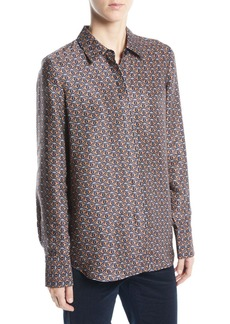 Lafayette 148 Scottie Globetrotter Triangle Silk Jacquard Blouse
