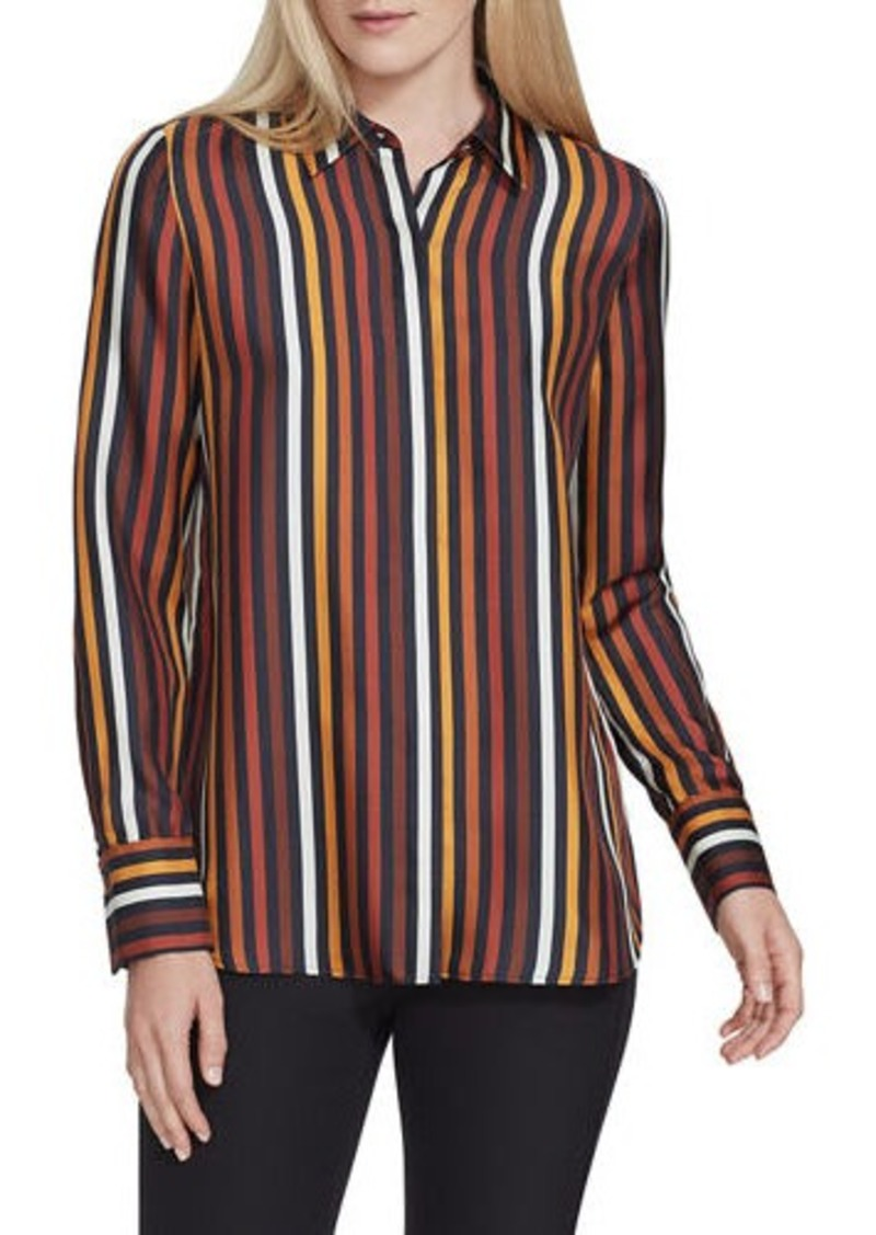 Lafayette 148 Scottie Horizon Stripe Silk Button-Down Blouse