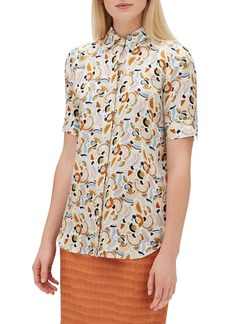 Lafayette 148 Scottie Short-Sleeve Lyrical Curves Printed Silk Blouse