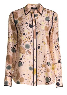 Lafayette 148 Scottie Surrealist Circle Print Silk Blouse