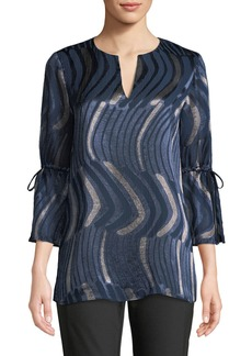 Lafayette 148 Sela Drawstring-Sleeve Abstract-Motif Blouse