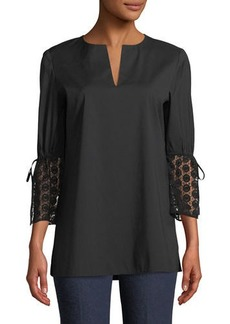 Lafayette 148 Sela Drawstring-Sleeve Cotton Blouse