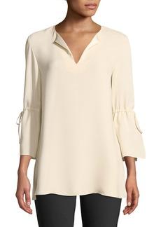 Lafayette 148 Sela Drawstring-Sleeve Silk Blouse