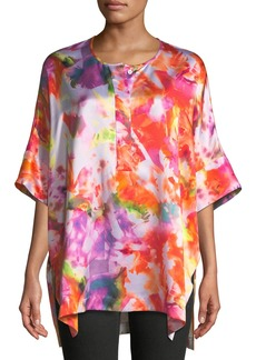 Lafayette 148 Selene Half-Sleeve Printed Silk Top