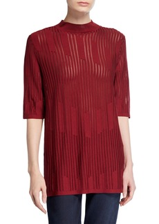 Lafayette 148 Semi-Sheer Intarsia Sweater