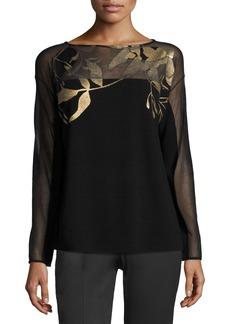Lafayette 148 Semisheer Bateau-Neck Jacquard Lace Sweater  Black/Gold