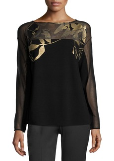 Lafayette 148 Semisheer Bateau-Neck Jacquard Lace Sweater  Black/Gold