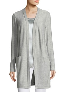 Lafayette 148 Sequin-Embellished Long Silk-Blend Cardigan