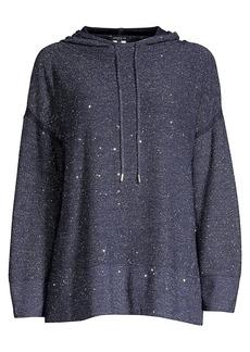 Lafayette 148 Sequin Silk & Wool-Blend Oversized Hoodie