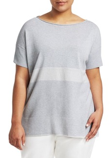 Lafayette 148 Sequin Stripe Short-Sleeve Sweater