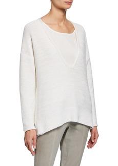 Lafayette 148 Sequined Silk Sweater w/ Tank