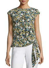 Lafayette 148 Seraphina Garden-Print Tie-Hem Silk Blouse