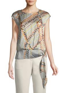 Seraphina Garden-Print Tie-Hem Silk Blouse