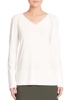 Lafayette 148 Sheer Detail V-Neck Sweater
