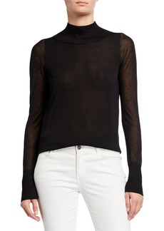 Lafayette 148 Sheer Mock Neck Sweater