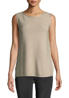 Lafayette 148 Shimmer Ribbed-Knit Sleeveless Tunic