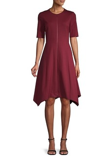 Lafayette 148 Short-Sleeve Asymmetric A-Line Dress